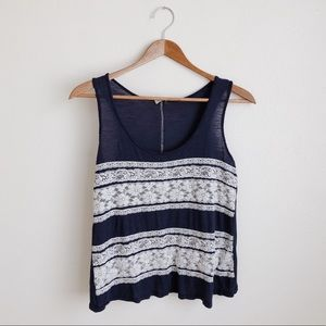 Blue and white lace tank top